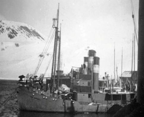 Barcos arponeros de la CAP en Grytviken, con la bandera argentina en las chimeneas