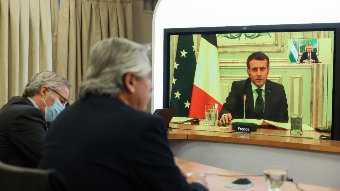 Videoconferencia de Alberto Fernández y Emmanuel Macron